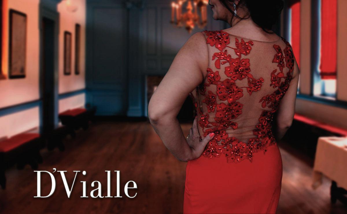 Coleção D'Vialle: Vestido com ilusion e renda