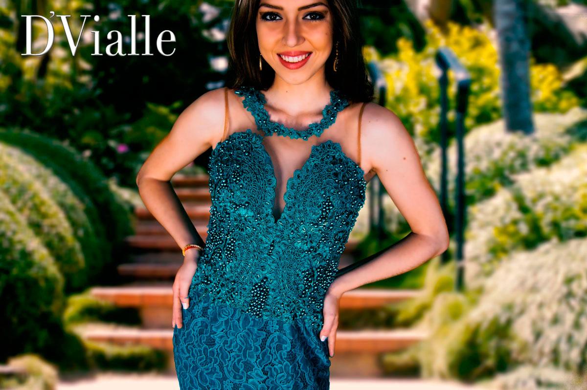 Coleção D'Vialle: Vestido Aplique Renda