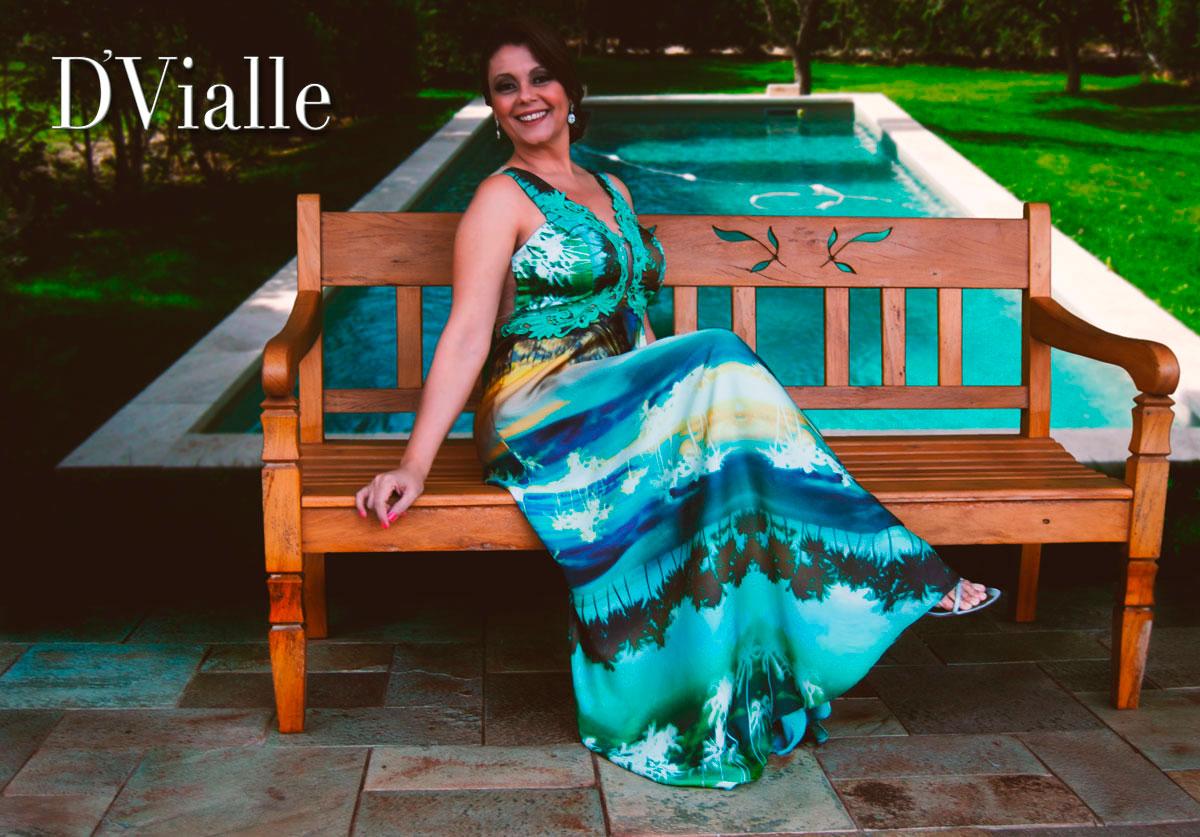 Coleção D'Vialle: Vestido Longo Estampado