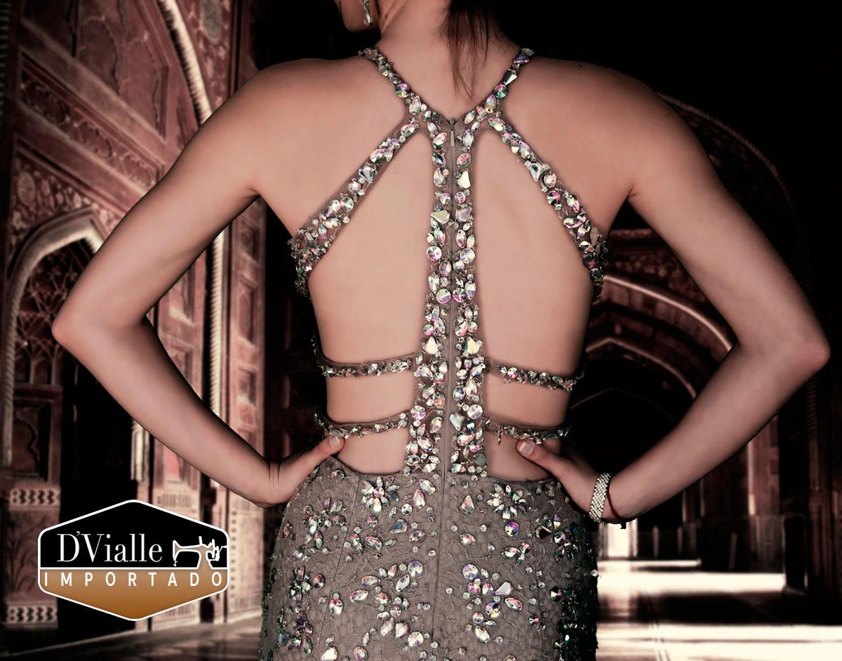 Coleção D'Vialle: Vestido Sereia no Tule com Pedras