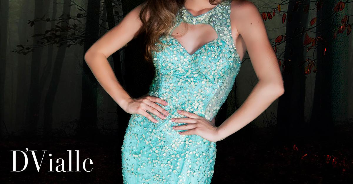 Coleção D'Vialle: Vestido sereia verde água